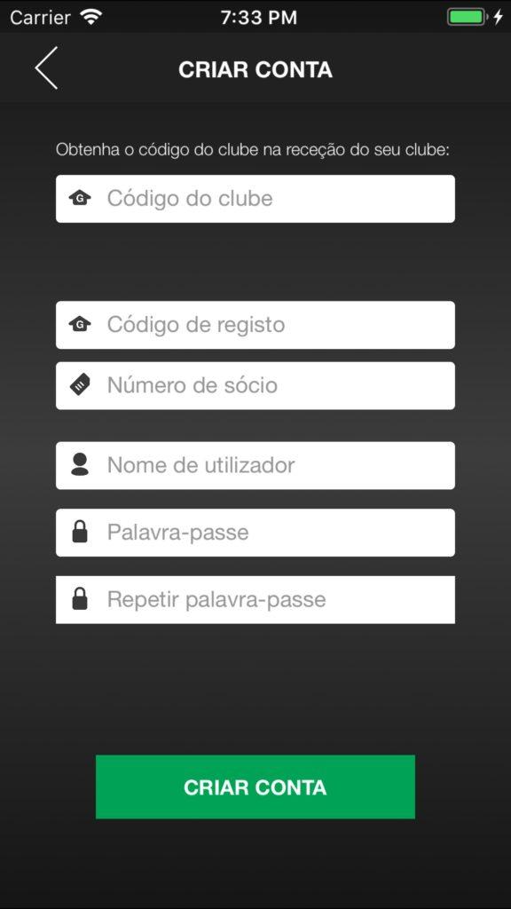 Nova Conta na Aplicação OVG IOS